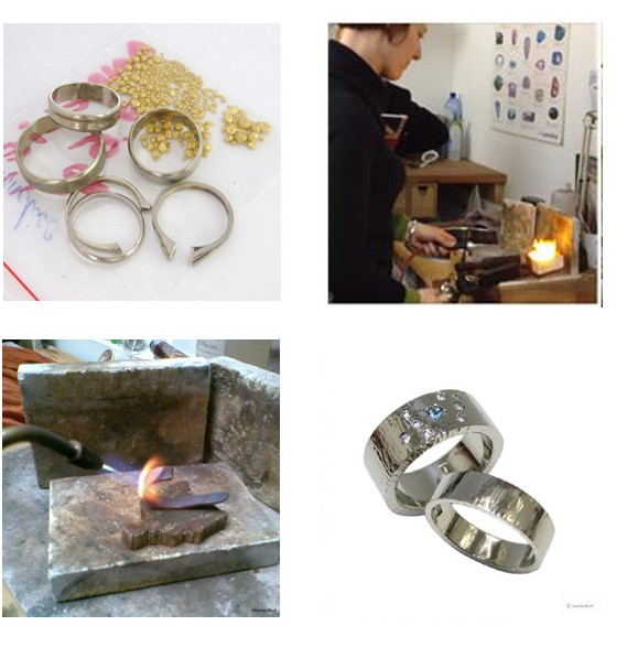 Handmade bespoke jewellery, remodelling gold rings into wedding rings in Brussels