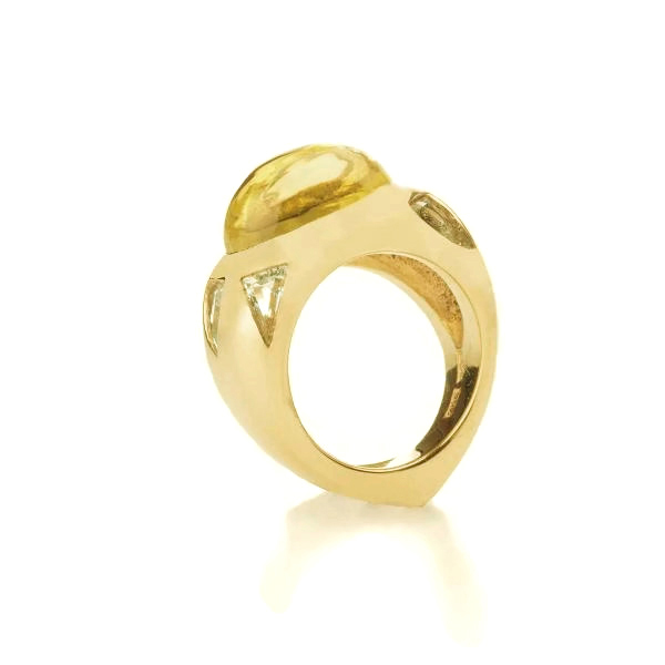 lemon quartz yellow gold ring