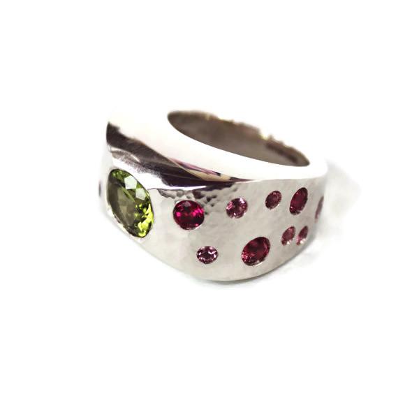 peridot pink tourmaline silver ring
