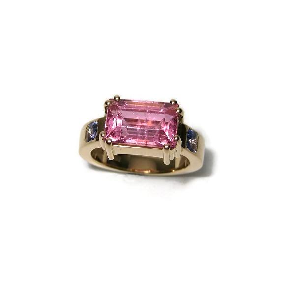 Pink tourmaline and tanzanite gold ring