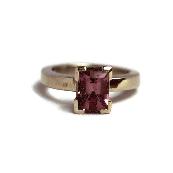 Handmade gold ring and pink tourmaline