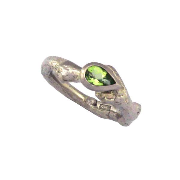 Peridot drop white gold engagement ring
