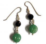 silver gemstone dangle earrings