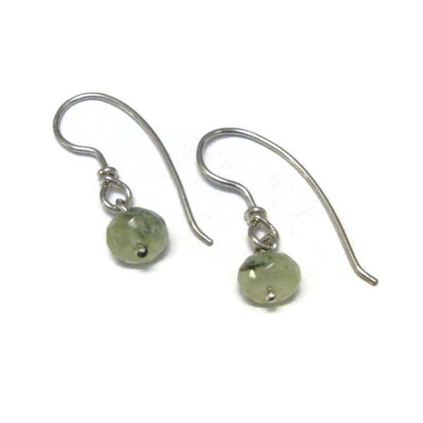 prehnite bead drop earrings