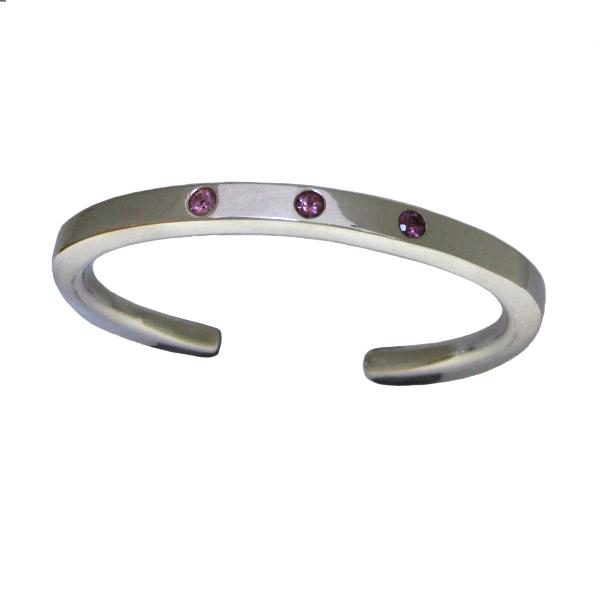 pink tourmaline silver bangle