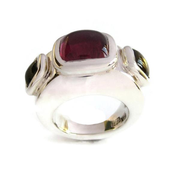 Yellow pink tourmaline silver ring
