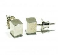 Silver cube ear studs