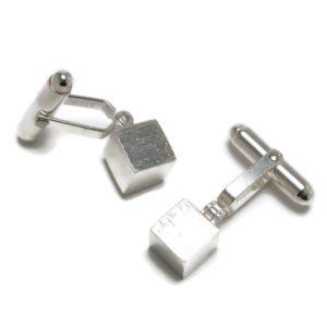 Silver cube cufflinks