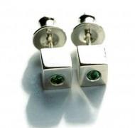 gemstone silver cube earrings