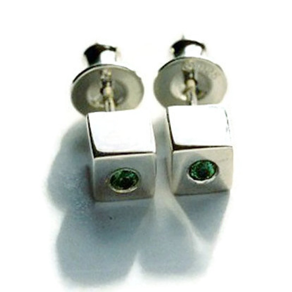 tourmaline silver cube earrings