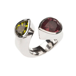 Twist tourmaline peridot ring