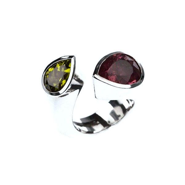 Twist tourmaline peridot ring