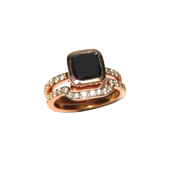 Black diamond rose gold engagement and wedding rings