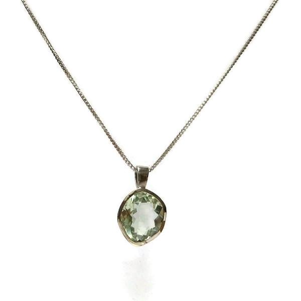 Green amethyst gold pendant