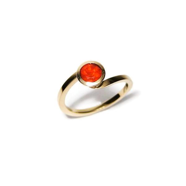 Yellow gold Mexican fire opal engagement ring