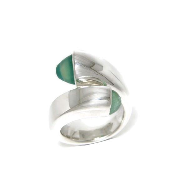 green gemstone silver ring