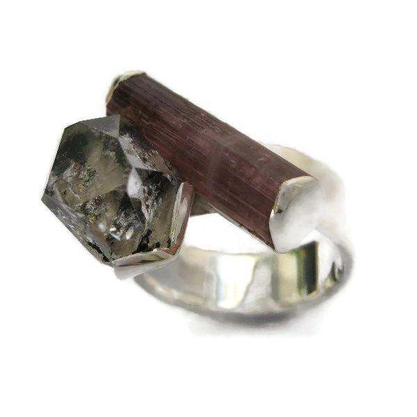 bi-coloured tourmaline silver ring