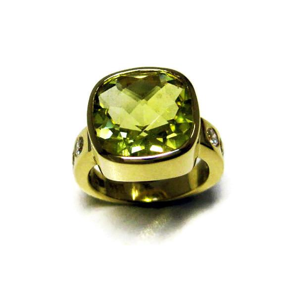 lemon quartz diamond yellow gold ring