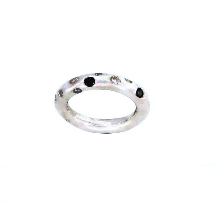 black and white gemstones silver ring