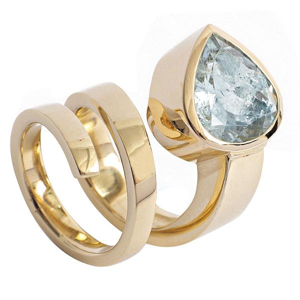 aquamarine gold spiral ring