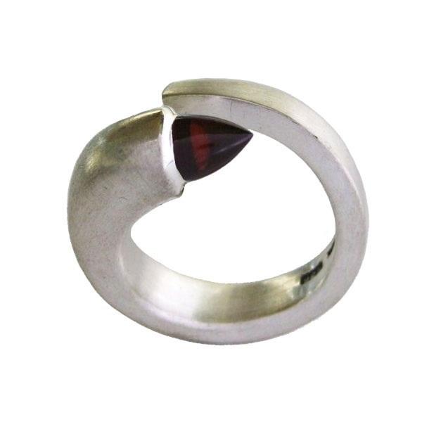 garnet bullet silver ring