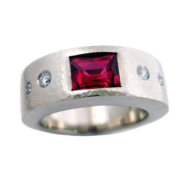 rubelite diamond white gold ring